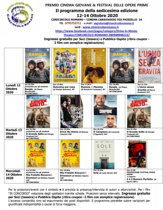 16a edizione del Premio Cinema Giovane & Festival delle Opere Prime