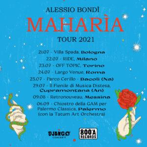 Read more about the article ALESSIO BONDÌ – Ecco le prime date del Maharìa Tour 2021